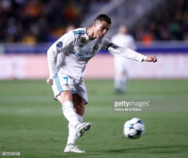Cristiano Ronaldo of Real Madrid CF in action during the UEFA Champions League group H match between APOEL Nikosia and Real Madrid at GSP Stadium on...