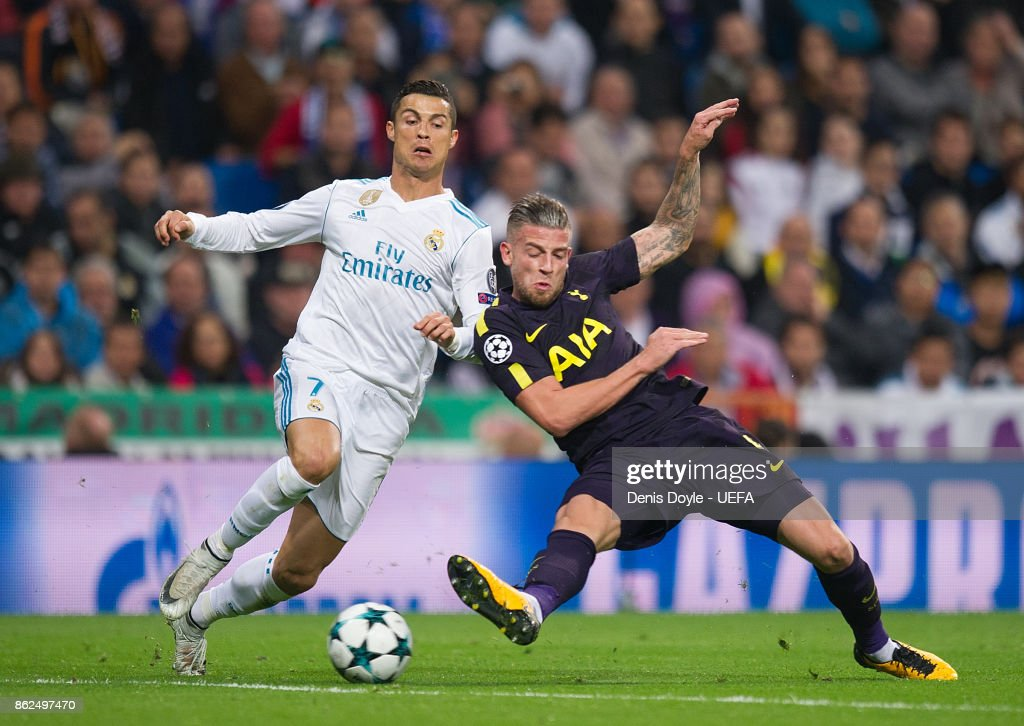 Cristiano Ronaldo of Real Madrid CF is tackled by Toby Alderweireld of Tottenham Hotspur during the UEFA Champions League group H match between Real Madrid and Tottenham Hotspur at Estadio Santiago Bernabeu on October 17, 2017 in Madrid, Spain.