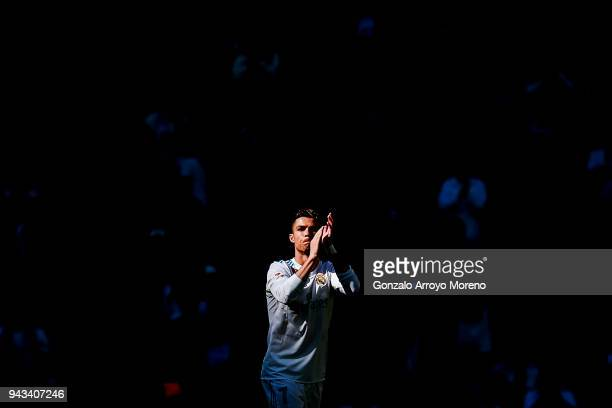 Cristiano Ronaldo of Real Madrid CF leaves the pitch during the La Liga match between Real Madrid CF and Club Atletico de Madrid at Estadio Santiago...