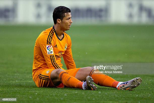 Cristiano Ronaldo of Real Madrid CF lies on the ground after being tackled during the La Liga match between Real Valladolid CF and Real Madrid CF at...