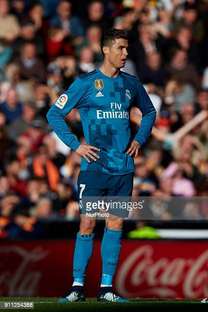 Cristiano Ronaldo of Real Madrid CF looks on during the La Liga game between Valencia CF and Real Madrid CF at Mestalla on January 27 2018 in...