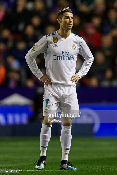 Cristiano Ronaldo of Real Madrid CF looks on during the La Liga game between Levante UD and Real Madrid CF at Ciutat de Valencia on February 3 2018...