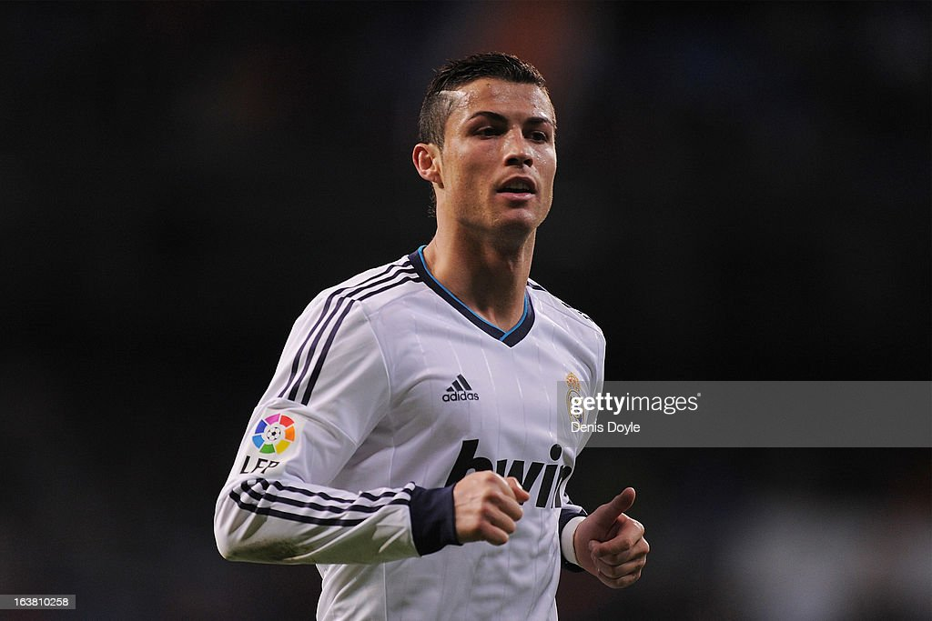Cristiano Ronaldo of Real Madrid CF looks on during the La Liga match between Real Madrid CF and RCD Mallorca at estadio Santiago Bernabeu on March 16, 2013 in Madrid, Spain.