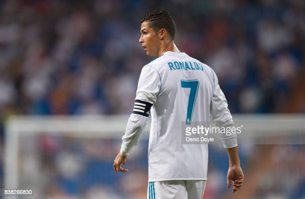 Cristiano Ronaldo of Real Madrid CF looks on during the Santiago Bernabeu Trophy match between Real Madrid CF and ACF Fiorentina at Estadio Santiago...