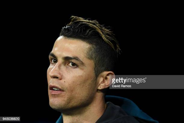 Cristiano Ronaldo of Real Madrid CF looks on during the UEFA Champions League Quarter Final scond leg match between Real Madrid and Juventus at...