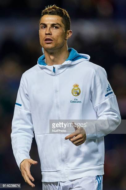 Cristiano Ronaldo of Real Madrid CF looks on prior to the La Liga game between Levante UD and Real Madrid CF at Ciutat de Valencia on February 3 2018...