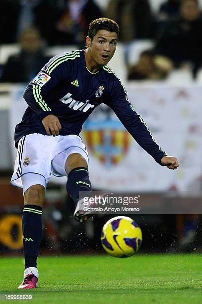 Cristiano Ronaldo of Real Madrid CF passes the ball during the La Liga match between Valencia CF and Real Madrid CF at Estadio Mestalla on January 20...