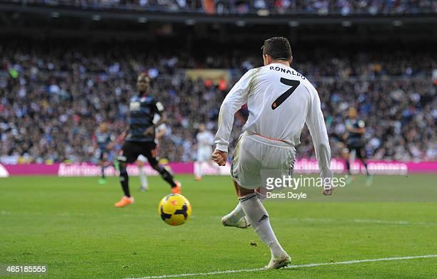 Cristiano Ronaldo of Real Madrid CF passes the ball during the La Liga match between Real Madrid CF and Granada CF at Santiago Bernabeu stadium on...