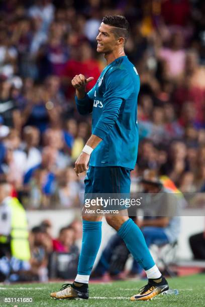 Cristiano Ronaldo of Real Madrid CF reacts after being shown a red card during the Supercopa de Espana Supercopa Final 1st Leg match between FC...
