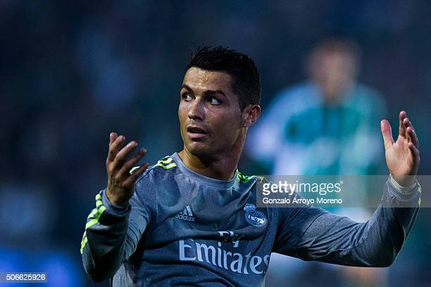 Cristiano Ronaldo of Real Madrid CF reacts after being tackled during the La Liga match between Real Betis Balompie and Real Madrid CF at Estadio...