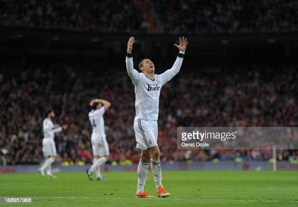 Cristiano Ronaldo of Real Madrid CF reacts after his free kick hits the post during the Copa del Rey Final between Real Madrid CF and Club Atletico...
