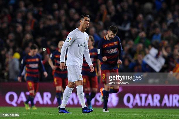 Cristiano Ronaldo of Real Madrid CF reacts after his team conceded the opening goal during the La Liga match between FC Barcelona and Real Madrid CF...