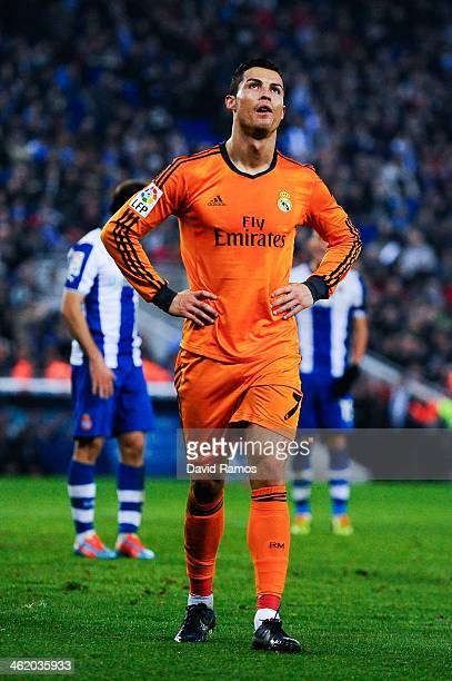 Cristiano Ronaldo of Real Madrid CF reacts after missing a chance to score during the La Liga match between RCD Espanyol and Real Madrid CF at...