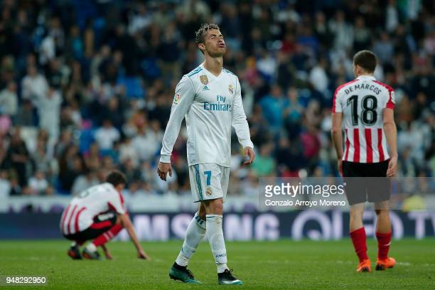 Cristiano Ronaldo of Real Madrid CF reacts after the La Liga match between Real Madrid CF and Athletic Club de Bilbao at Estadio Santiago Bernabeu on...