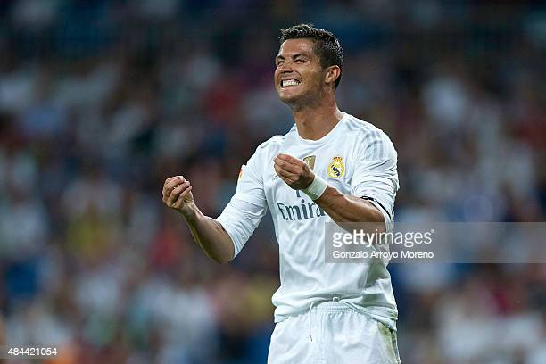 Cristiano Ronaldo of Real Madrid CF reacts as he fail to score during the Santiago Bernabeu Trophy match between Real Madrid CF and Galatasaray at...