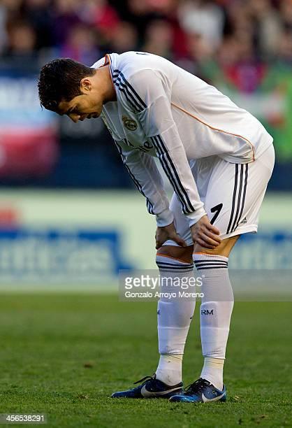 Cristiano Ronaldo of Real Madrid CF reacts as he fails to score during the La Liga match between CA Osasuna and Real Madrid CF at Estadio El Sadar de...