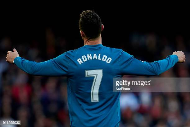 Cristiano Ronaldo of Real Madrid CF reacts during the La Liga game between Valencia CF and Real Madrid CF at Mestalla on January 27 2018 in Valencia...