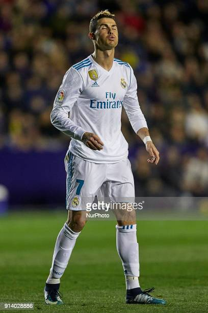 Cristiano Ronaldo of Real Madrid CF reacts during the La Liga game between Levante UD and Real Madrid CF at Ciutat de Valencia on February 3 2018 in...