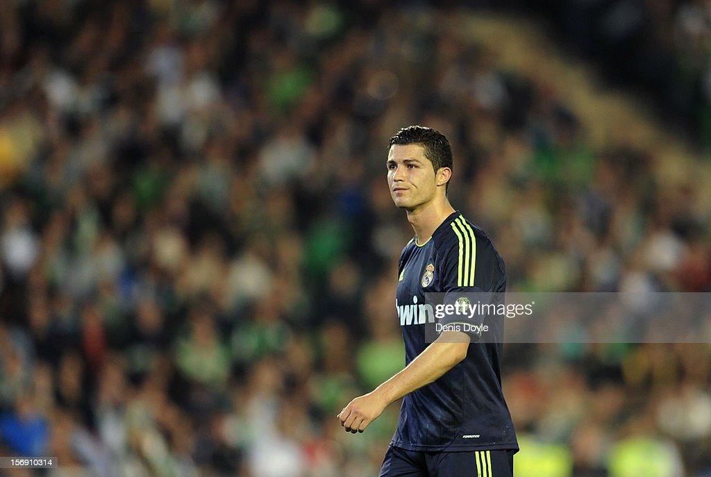 Cristiano Ronaldo of Real Madrid CF reacts during the La Liga match between Real Betis Balompie and Real Madrid CF at Estadio Benito Villamarin on November 24, 2012 in Seville, Spain.