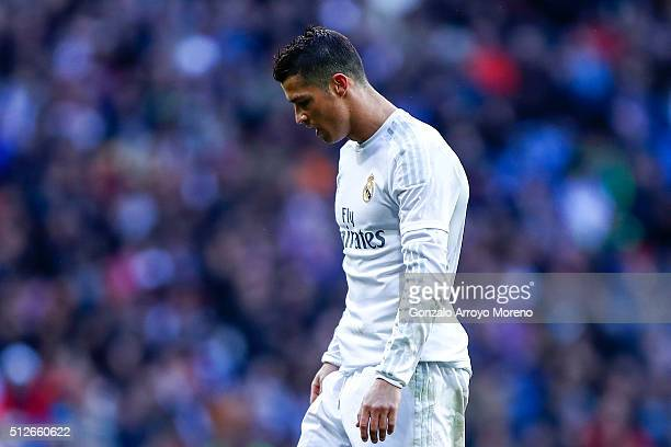 Cristiano Ronaldo of Real Madrid CF reacts during the La Liga match between Real Madrid CF and Club Atletico de Madrid at Estadio Santiago Bernabeu...
