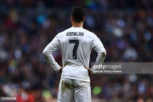 Cristiano Ronaldo of Real Madrid CF reacts during the La Liga match between Real Madrid CF and Club Atletico de Madrid at Estadio Santiago Bernabeu...