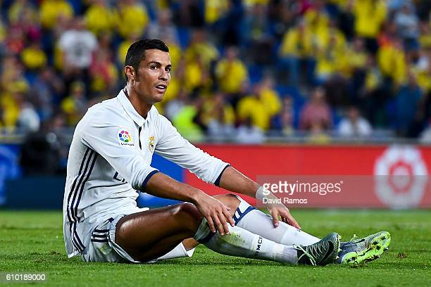Cristiano Ronaldo of Real Madrid CF reacts during the La Liga match between UD Las Palmas and Real Madrid CF on September 24 2016 in Las Palmas Spain