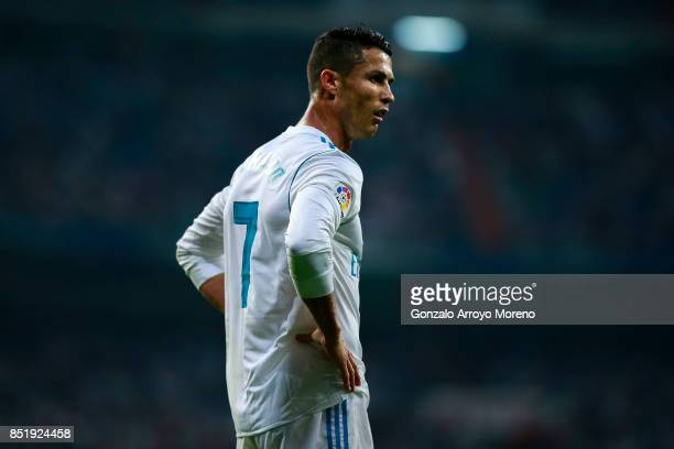 Cristiano Ronaldo of Real Madrid CF reacts during the La Liga match between Real Madrid CF and Real Betis Balompie at Estadio Santiago Bernabeu on...