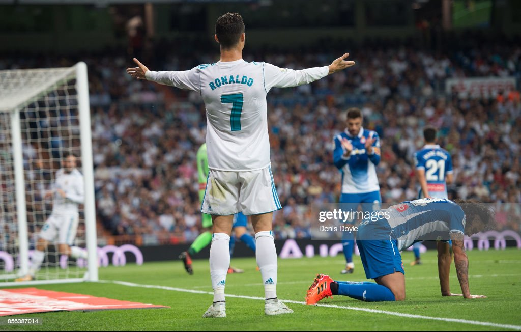 Cristiano Ronaldo of Real Madrid CF reacts during the La Liga match between Real Madrid and Espanyol at Estadio Santiago Bernabeu on October 1, 2017 in Madrid, Spain.