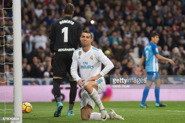 Cristiano Ronaldo of Real Madrid CF reacts during the La Liga match between Real Madrid and Malaga at Estadio Santiago Bernabeu on November 25 2017...
