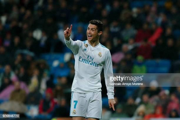 Cristiano Ronaldo of Real Madrid CF reacts during the La Liga match between Real Madrid CF and Getafe CF at Estadio Santiago Bernabeu on March 3 2018...