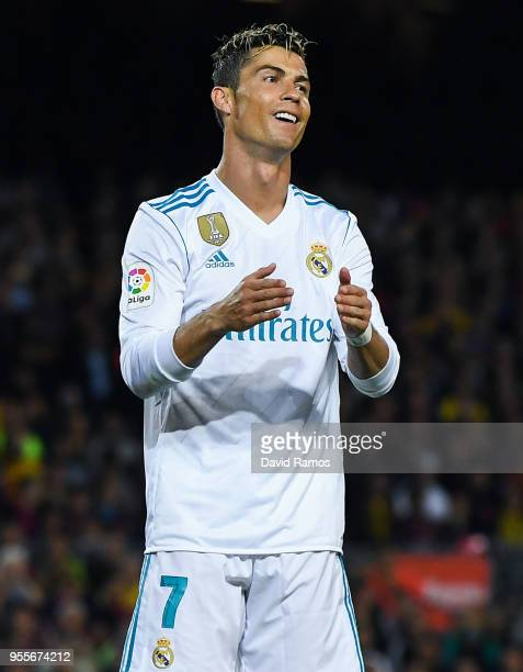 Cristiano Ronaldo of Real Madrid CF reacts during the La Liga match between Barcelona and Real Madrid at Camp Nou on May 6 2018 in Barcelona Spain