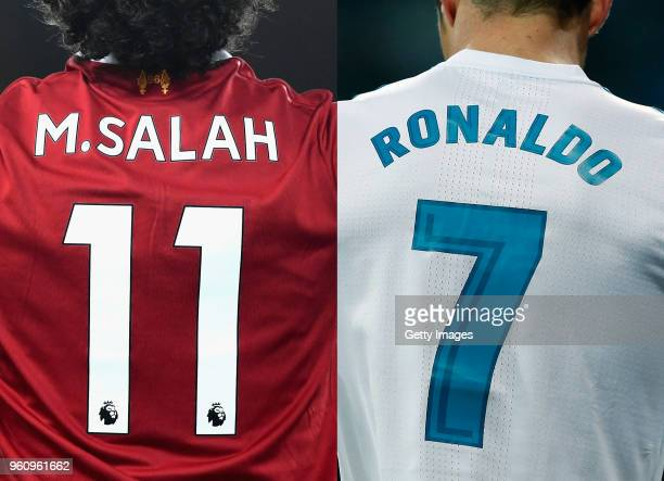 COMPOSITE OF IMAGES Image numbers 879097616 and 917598122 In this composite image a comparision has been made between Mohamed Salah of Liverpool and...