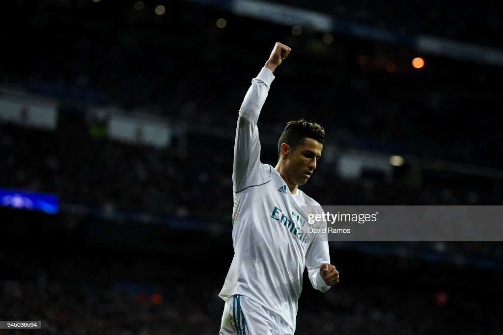 Cristiano Ronaldo of Real Madrid CF reacts during the UEFA Champions League Quarter Final scond leg match between Real Madrid and Juventus at Estadio Santiago Bernabeu on April 11, 2018 in Madrid, Spain.
