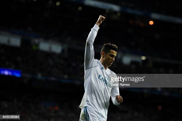 Cristiano Ronaldo of Real Madrid CF reacts during the UEFA Champions League Quarter Final scond leg match between Real Madrid and Juventus at Estadio...