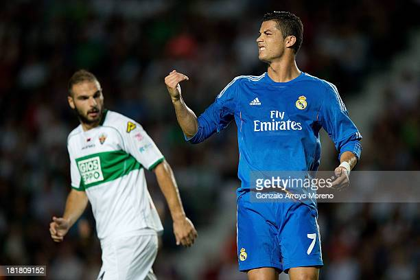 Cristiano Ronaldo of Real Madrid CF reacts with anger during the La Liga match between Elche FC and Real Madrid CF at Estadio Manuel Martinez Valero...