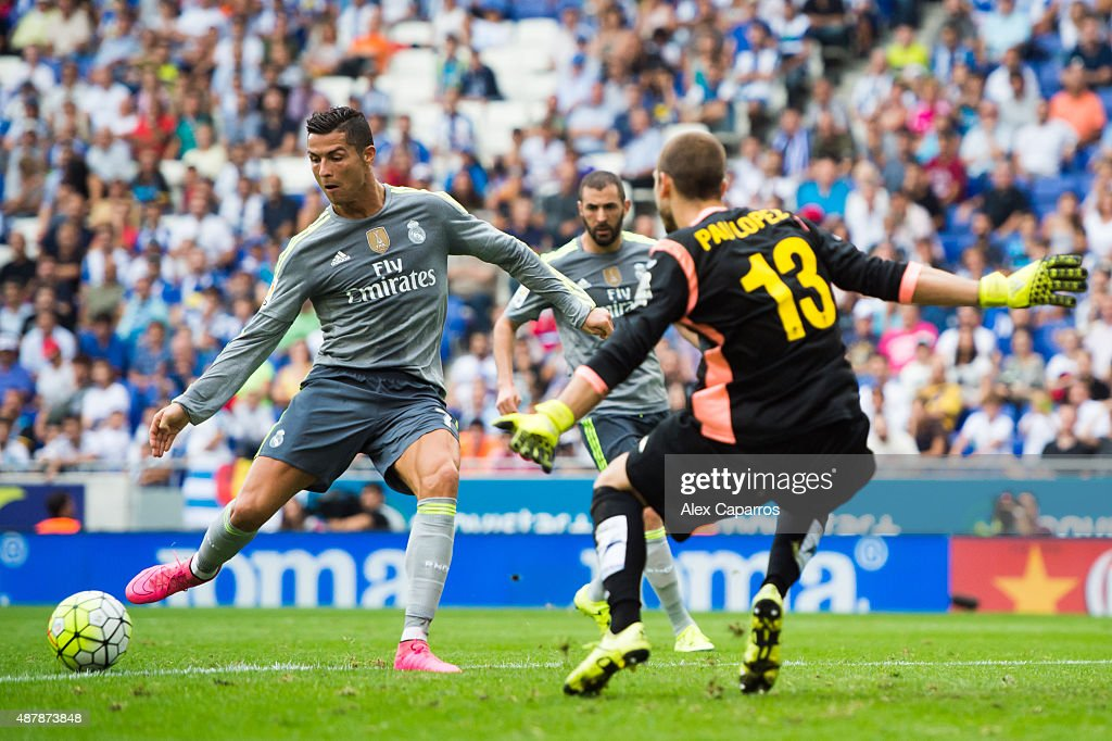 Cristiano Ronaldo of Real Madrid CF scores his team's fifth goal during the La Liga match between RCD Espanyol and Real Madrid CF at Cornella-El Prat Stadium on September 12, 2015 in Barcelona, Spain.