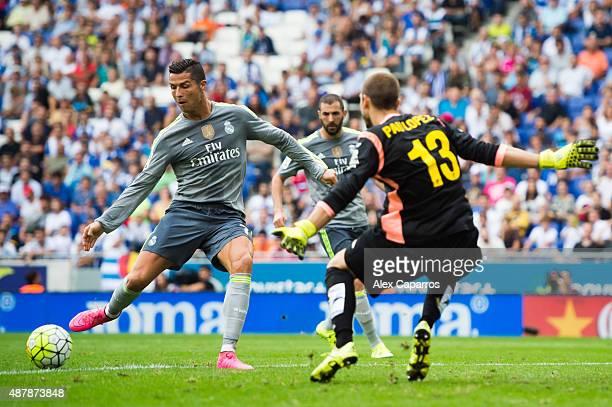 Cristiano Ronaldo of Real Madrid CF scores his team's fifth goal during the La Liga match between RCD Espanyol and Real Madrid CF at Cornella-El Prat...