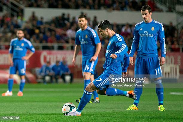 Cristiano Ronaldo of Real Madrid CF scores their opening goal during the La Liga match between Sevilla FC and Real Madrid CF at Estadio Ramon Sanchez...
