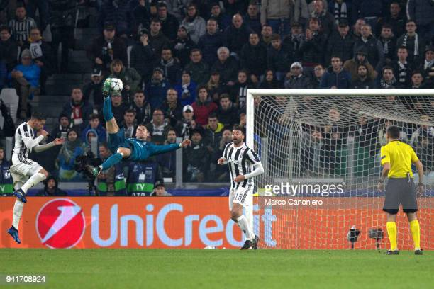 Cristiano Ronaldo of Real Madrid Cf scoring a bicycle kick goal during the UEFA Champions League quarter final first leg football match between...