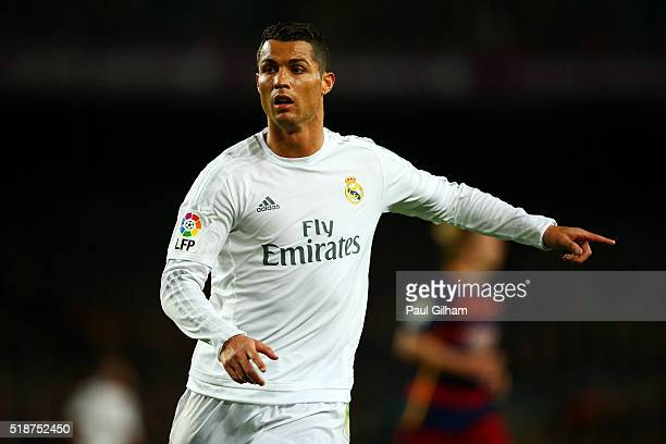 Cristiano Ronaldo of Real Madrid CF signals during the La Liga match between FC Barcelona and Real Madrid CF at Camp Nou on April 2 2016 in Barcelona...