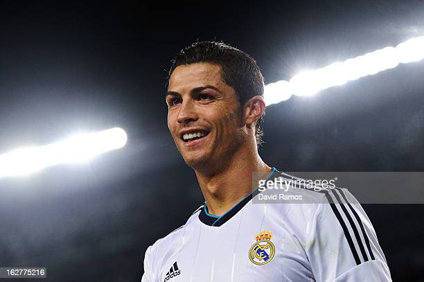 Cristiano Ronaldo of Real Madrid CF smiles during the Copa del Rey Semi Final second leg between FC Barcelona and Real Madrid at Camp Nou on February...