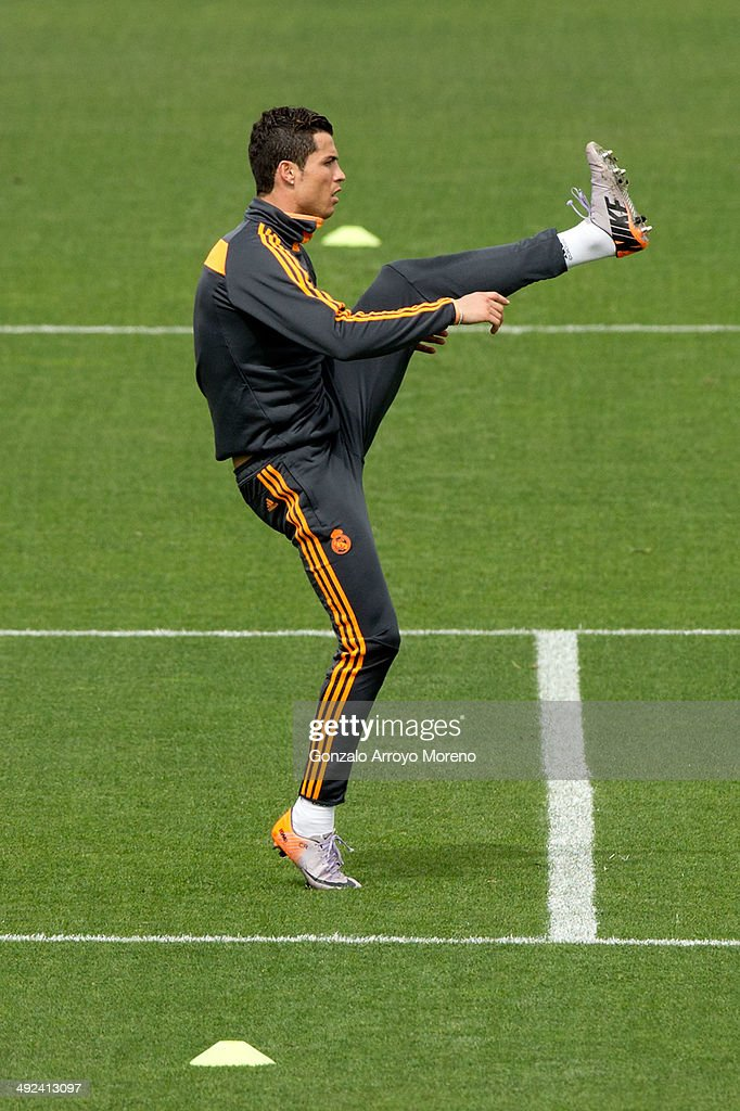 Cristiano Ronaldo of Real Madrid CF takes part in a training session during the Real Madrid media day, ahead of the UEFA Champions League final against Club Atletico de Madrid, at Valdebebas Sport City on May 20, 2014 in Madrid, Spain.