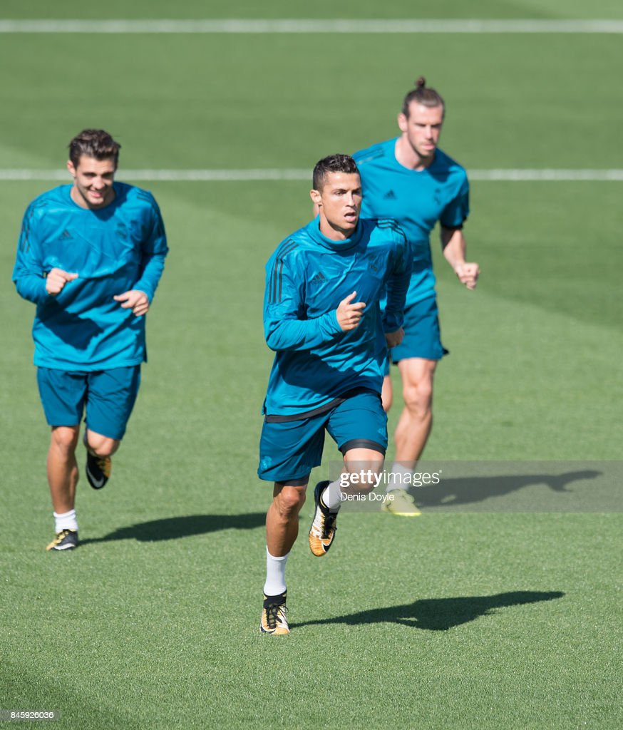 Cristiano Ronaldo of Real Madrid CF warms up during the Real Madrid CF training session at Valdebebas training ground on September 12, 2017 in Madrid, Spain.