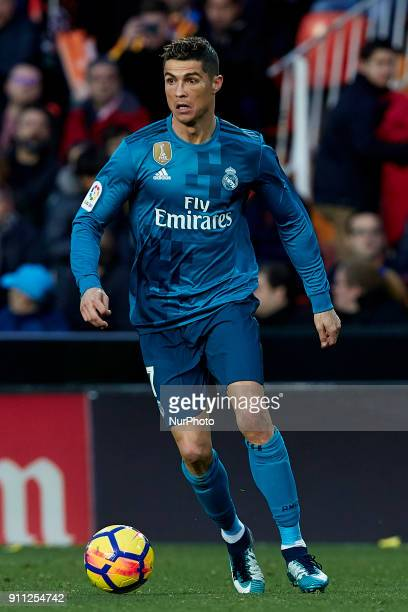 Cristiano Ronaldo of Real Madrid CF with the ball during the La Liga game between Valencia CF and Real Madrid CF at Mestalla on January 27 2018 in...