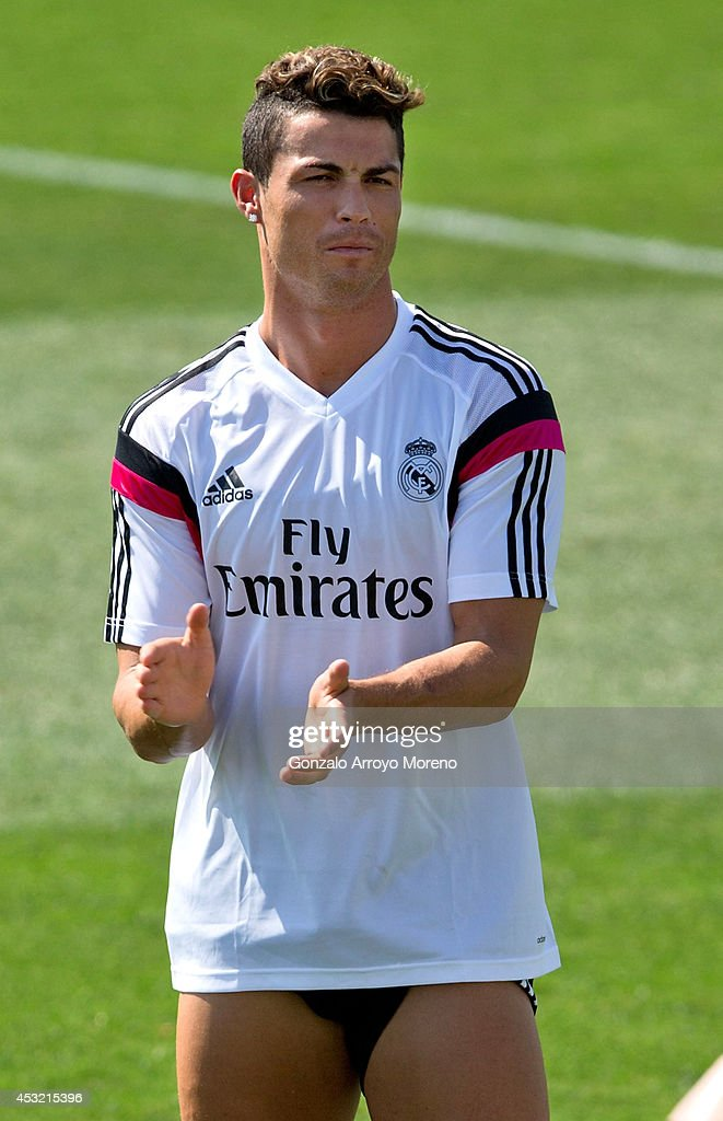 Cristiano Ronaldo of Real Madrid claps during a Real Madrid training session at Valdebebas training ground on August 5, 2014 in Madrid, Spain.