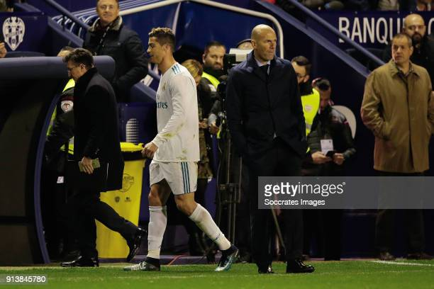 Cristiano Ronaldo of Real Madrid coach Zinedine Zidane of Real Madrid during the La Liga Santander match between Levante v Real Madrid at the Estadi...