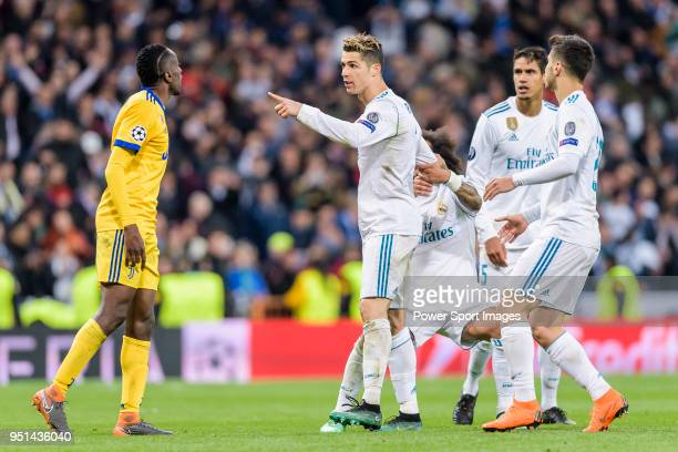 Cristiano Ronaldo of Real Madrid confronts Blaise Matuidi of Juventus during the UEFA Champions League 2017-18 quarter-finals match between Real...