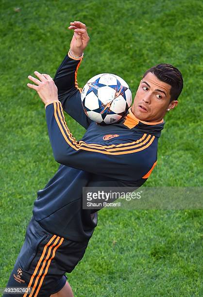 Cristiano Ronaldo of Real Madrid contorls the ball during a Real Madrid training session ahead of the UEFA Champions League Final against Club...