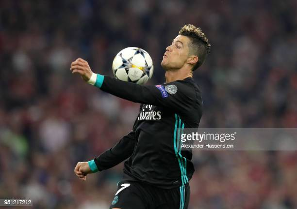 Cristiano Ronaldo of Real Madrid controlls the ball in the build up to him scoring a goal which is later dissalowed for offside during the UEFA...