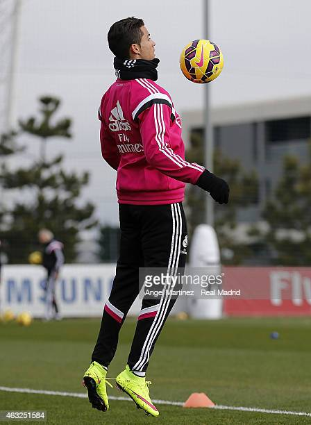 Cristiano Ronaldo of Real Madrid controls the ball during a training session at Valdebebas training ground on February 12 2015 in Madrid Spain